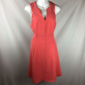 Esley Coral Fit And Flare Cutout Dress - Medium